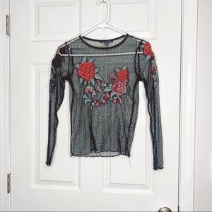 American Eagle mesh see through embroidered top